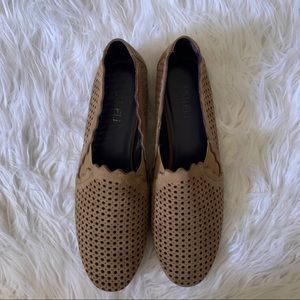 Vaneli suede laser cut loafer slip on flats